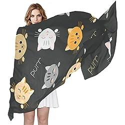 COOSUN Kitten Katzen Muster Seidenschal Leichte lange Schal-Schal-Verpackung für Frauen 90x180ü¼ † CMï¼¼ ° mehrfarbig