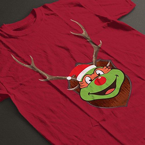 TMNT Michelangelo Christmas Antler Head Men's T-Shirt Cherry Red