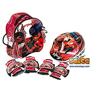 51c%2BxDSs5SL. SS300  - Saica Ladybug Mochila, Rojo y Negro