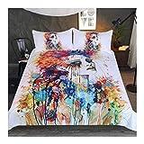 CSYPYLE Art Colorful Girl Kissenbezüge Aquarell Gedruckt Bett Set 3-Teilige Bettwäsche, Doppel