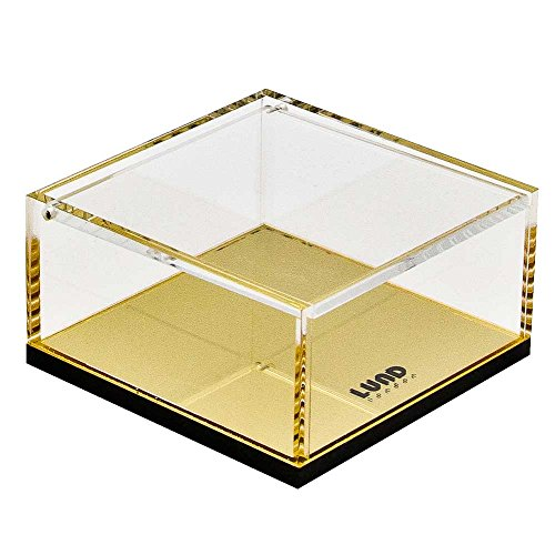 Flash Doré avec couvercle Boîte de rangement en acrylique PC de bureau et Coiffeuse Organiseur pour accessoires, cosmétiques, articles de papeterie et effets personnels