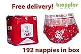 Offizielles Liverpool FC Baby Windeln Gr. 4–9kg, 192Stück, Geschenk Merchandise brappies