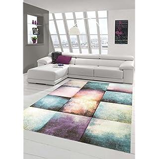 Traum Teppich Designerteppich Moderner Teppich Für Wohnzimmer Kurzflor Teppich  Bunt Modern In Lila, Blau,