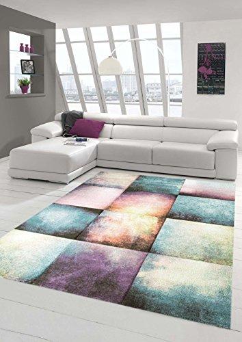 Kurzflor Teppich Wohnzimmer Teppich Karo Türkis Lila Größe 200x290 cm