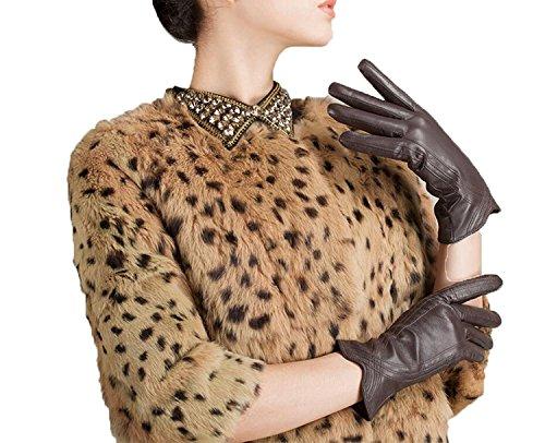 GBT Frauen 'S Italienische Leder Kleid Driving Handschuhe Kaschmir Fleece Futter Kurze Mode Klassische Hand Kurve Super Warm 10 Farben,Braun,Mittel (10 Individual Tights)