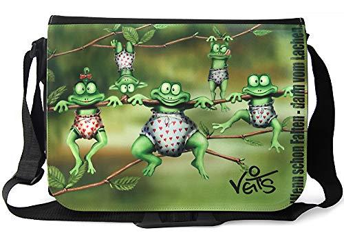 Veit'S lustige Schultertasche Schultasche College Tasche mit Motiv Kleiner Frosch - TAB0158 -