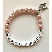 Pulsera con perlas personalizada con nombre, para dama de honor o madrina, regalo ideal para boda o cumpleaños