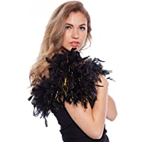 Boa de plumas Negro con dorados 180cm