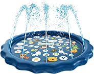 Mumfactory Water Baby Water Sprinkler Pad for Kids, Summer Outdoor Water Toys Wading Pool Splash Play Mat for