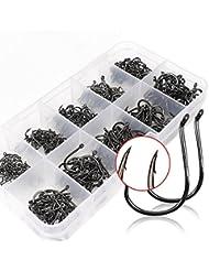 500pcs Jig hamecons de peche Coffre a peche 10 tailles en acier au carbone poisson Jig Crochets en Acier carbone avec trou de pêche Tackle Box Set