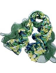 Nella-Mode CHIC & ELEGANT: Grosser XXL-SEIDENSCHAL (ca. 195x110cm) in besonderen Design: uni Dunkelgrün (Crepe Georgette-Seide) und florales Muster (Chiffon-Seide) kombiniert; Schal aus 100% Seide