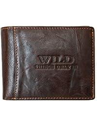 Portefeuille Wild, brun, pour homme, en cuir véritable vitrage
