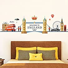 Wallpark Londres Paisaje - Puente de la Torre Calle Autobús Desmontable Pegatinas de Pared Etiqueta de la Pared, Sala Dormitorio Hogar Decorativas Adhesivas DIY Arte Murales