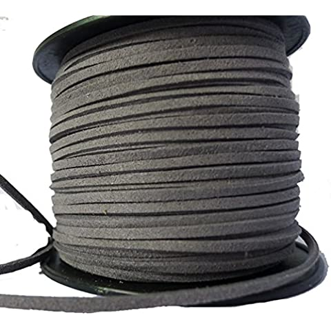 LanShi 3mm Flat Leather Lace Beading Thread Faux Suede Cord String Velvet Gray 100 Yards Roll Spool by