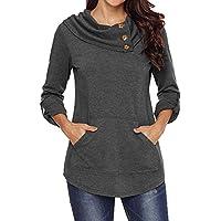 Loose Long Sleeve Tops for Women,Musheng Women's Long Sleeve Cowl Neck Kangaroo Pocket Pullover Sweatshirt Blouse Top