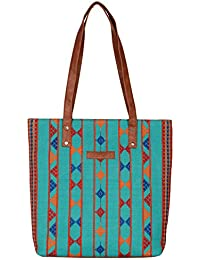 Kalamargam Collective Desert Weave & Vegan Leather Tote Bag (Multi-Coloured, KC-TB37) - B07FM2JBJH