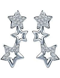 Unendlich U Elegant 3 Sternchen Sterne Damen Ohrstecker 925 Sterling Silber Zirkonia Stecker Ohrringe Ohrschmuck, Silber