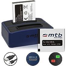 2x Batería + Cargador doble (USB) para NB-8L | Canon PowerShot A3350 IS, A3300 IS, A3200 IS, A3150 IS, A3100 IS, A3000 IS, A2200 (contiene cable micro USB)