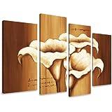 Cuadros en Lienzo flores 130 x 80 cm modelo Nr. 6168 XXL Las imágenes estan listas, enmarcadas en marcos de Madera auténtica. El diseño de la impresión artística como un Mural enmarcado.