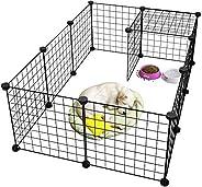 Pet Playpen Metal,Metal Pet Folding Playpen Dog Kennel Pets Fence Exercise Cage 12 Panels Metal Wire Yard Fenc