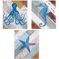VACCHETTI Joseph 5107530000Framework Octopus Star and Seahorse, Set of 3, Wood, blue, 38x 2x 46cm preiswert