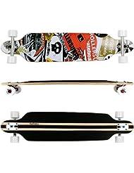 FunTomia® Freerider Longboard - 107cm x 26cm - rodamientos ABEC-11 - hecho con 9 capas de madera de arce (blanco satellite - calavera)