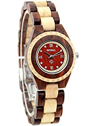 Bewell reloj Fashion para mujer madera de movimiento de cuarzo analógico reloj de pulsera