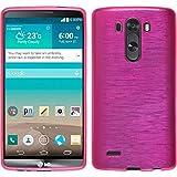 PhoneNatic LG G3 Hülle Silikon pink brushed Case G3 Tasche + 2 Schutzfolien