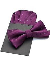 PenSee caliente de seda para Hombre PRE-TIED de lunares tarjeta de lazo corbata & pañuelo set–varios colores