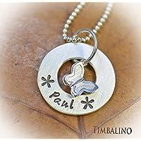 Kinderkette aus Silber mit Namen, Donutringanhänger, Schmetterling