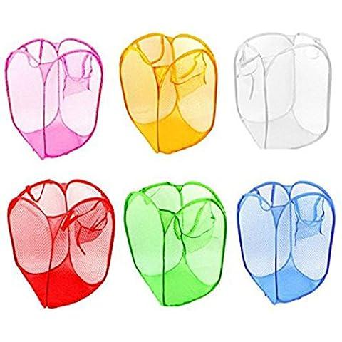 Rainbow Love pieghevole, in rete, Pop-Up Cesto per biancheria, cesto portatutto, giocattolo, 6 pezzi