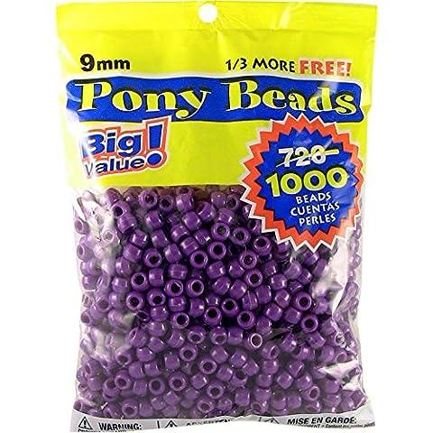 Pony perlina grande valore Pack 9mm 1000/Pkg-opaco viola