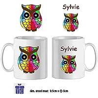 Texti-cadeaux-Mug Chouette Multicolor-personnalisé avec un prénom exemple Sylvie