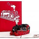 """Pop Up Karte """"Lokomotive"""" - Eisenbahnkarte, 3D Karte Dampflok - Sammlerkarte, Reisegutschein, Gutschein Bahnfahrt"""