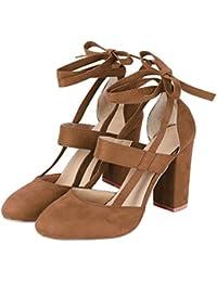 Liquidación! Covermason Moda Mujer Sandalia de tacón de aguja Sandalia de tacón de tobillo para la fiesta de la boda(37 EU, marrón)