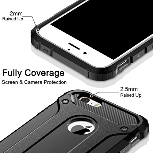 iPhone SE Hülle, Coolden Premium Outdoor Case Doppelte Schutz Soft Flex Silikon TPU + Schlanke PC Bumper Cover Militärstandard Stossfest Schutzhülle für iPhone Se Handyhülle iPhone se / 5s Case (Blau) Schwarz