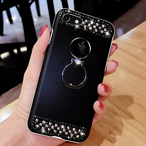 iPhone 7/8 Plus Coque de Luxe,iPhone 7/8 Plus Case Shockproof,Hpory Beau élégant Luxury Cristal Clair Bling Diamant Strass Brillante Bling Ring Stand Holder Ultra Thin PC dur + TPU Gel Silicone Etui H Ring Stand,Noir