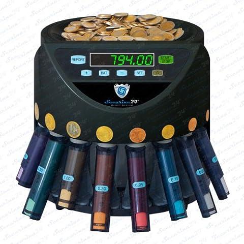 Münzzähler Münzzählmaschine Münzsortierer Geldzählmaschine Münzen SR1200 Abhülsung von Securina24® (schwarz - BBB)