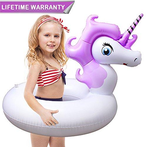 Inflable Flotador de Piscina, HooYL Hinchables Colchonetas Flotador Unicornio Juguete de Piscina para los Niños y Delgados Adultos (80X80X72cm, Violeta)