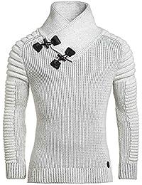 BLZ jeans - Pullover homme côtelé blanc hiver
