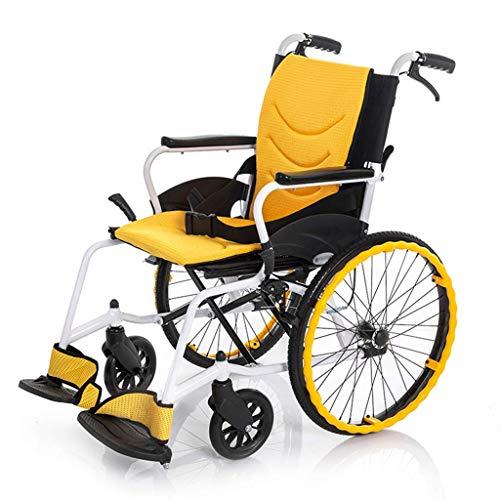 Y-L Rollstuhl, Behinderter Rollstuhl Tragbar, Leichter Rollstuhl Faltbar, Gelb, Rollstuhl-Rückenlehne Ergonomisch, Geeignet für Den Innen- und Außenbereich, b, b