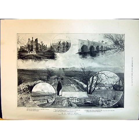 Una Stampa Antica di 1897 La Ragazza di Scene di Frana dell'Irlanda dello Scorrevole della Palude che Alimenta Youn…