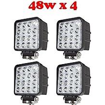Tanli 4 X 48 W Led Foco Lampara de coche Faros de trabajo led Luces diurna Luz de la luz de los faros de campo a traves de SUV UTV ATV faros