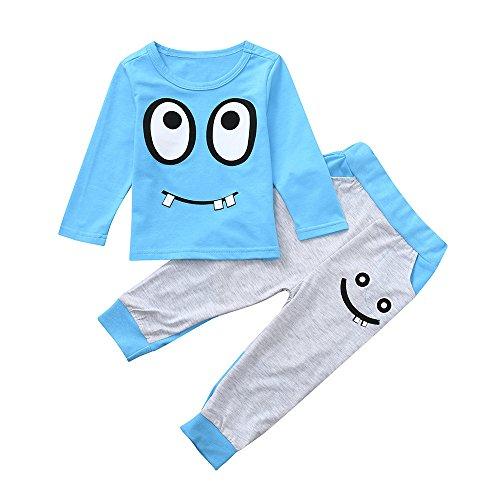 KUKICAT Pyjamas Enfant Service à Domicile Imprimé, T-Shirt Manches Longues Col Rond Imprimé Motifs Grands Yeux + Pantalon Vêtement Deux Pièces Sleepwea