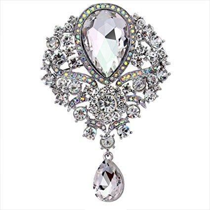 Brosche Teardrop Großer Kristall Rhinestone Vintage glänzende Brosche Pin Kleidung Zubehör Bobury