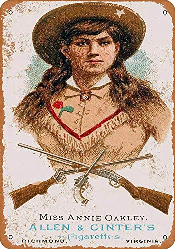 WallAdorn 1887 Annie Oakley Sign Flammable Iron Poster Painting Tin Sign Vintage Wall Decor for Cafe Bar Pub Home