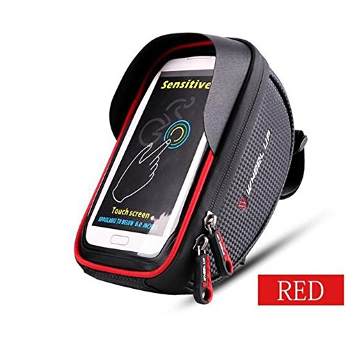 LYX Fahrradtasche, Fahrrad MTB Frontstrahler Wasserdicht 6,0 Zoll Touchscreen Handytasche, Reitsack,Red