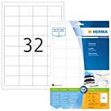 Herma 8643 Universal Etiketten (48,3 x 33,8 mm) weiß, 320 Aufkleber, 10 Blatt DIN A4 Premium Papier matt, bedruckbar, selbstklebend