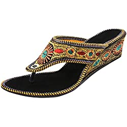 Thari Choice Women's Multi Colored (BKRD) Wedges (Ind/Uk-6 or Eu-39)