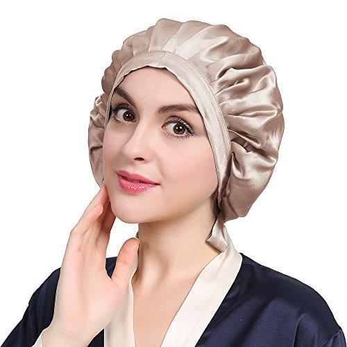 LILYSILK Seide Schlafmütze Atmungsaktive Nachtmütze Kopfbedeckung mit klassischer und bequemer Form(Taupe)